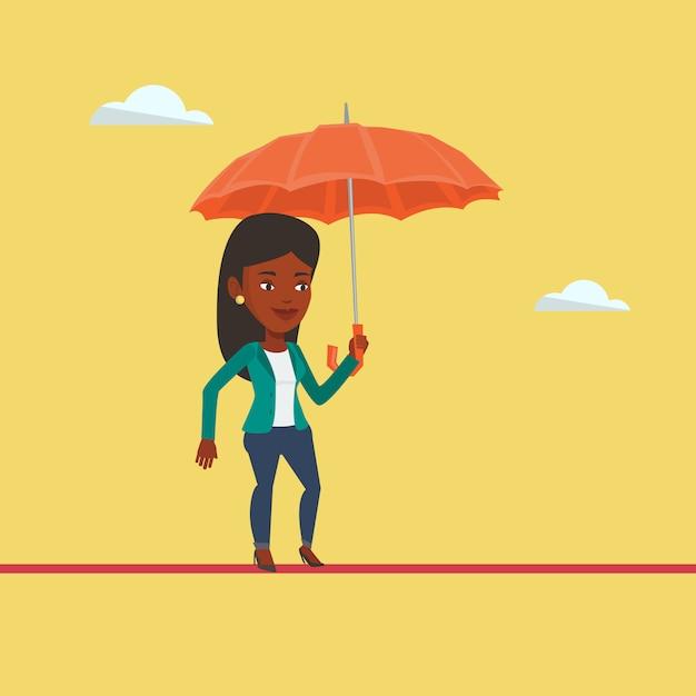 Mulher de negócios arriscada equilibrando na corda bamba. Vetor Premium