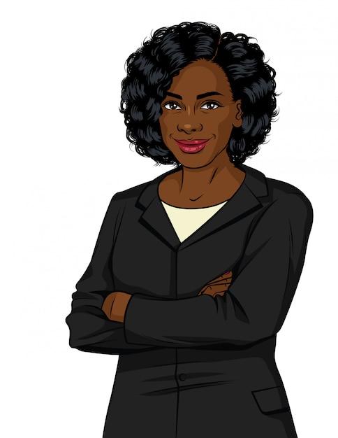 Mulher de negócios bem sucedido no terno do escritório. senhora chefe com os braços cruzados Vetor Premium
