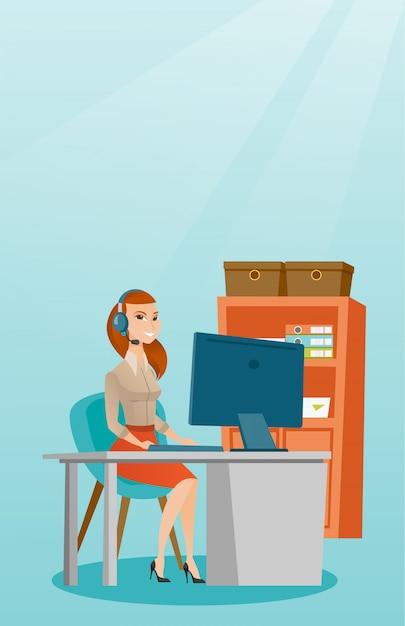 Mulher de negócios com fone de ouvido trabalhando no escritório. Vetor Premium