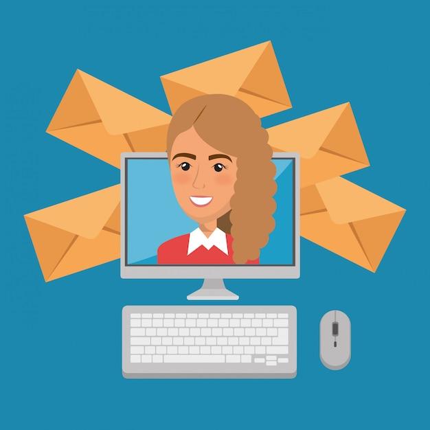 Mulher de negócios com ícones de marketing de e-mail Vetor grátis