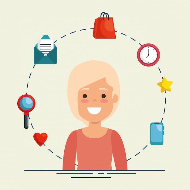 Mulher de negócios com ícones de negócios Vetor grátis