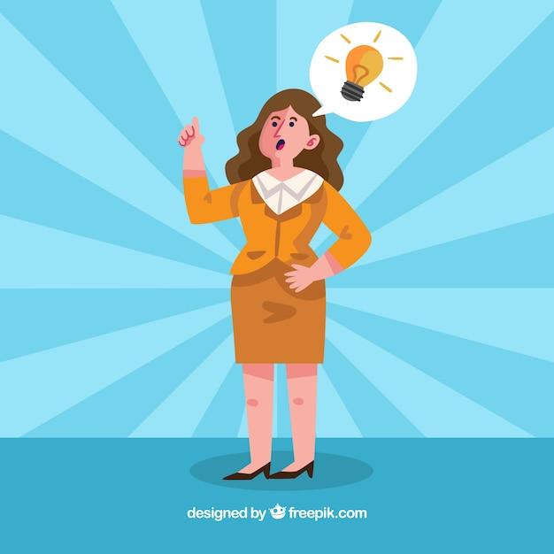 Mulher de negócios com uma idéia Vetor grátis