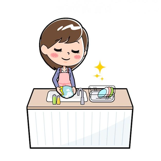 Mulher de negócios de linha de fora lavar louça Vetor Premium