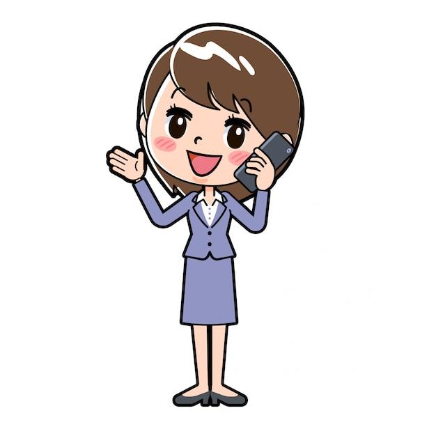 Mulher de negócios de linha Vetor Premium