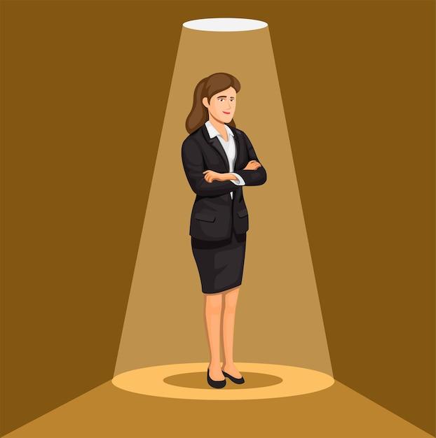 Mulher de negócios em pé conceito de personagem de carreira e profissão feminina na ilustração dos desenhos animados Vetor Premium