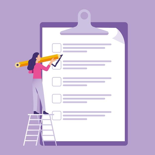 Mulher de negócios em pé e segurando a caneta para fazer checklist Vetor Premium