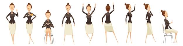 Mulher de negócios em várias poses definido Vetor grátis