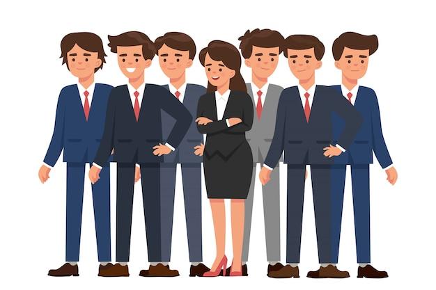 Mulher de negócios jovem se destaca entre muitos homens de negócios Vetor Premium