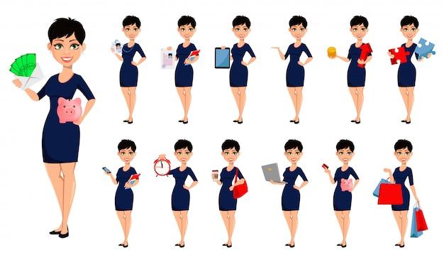 Mulher de negócios moderna feliz Vetor Premium