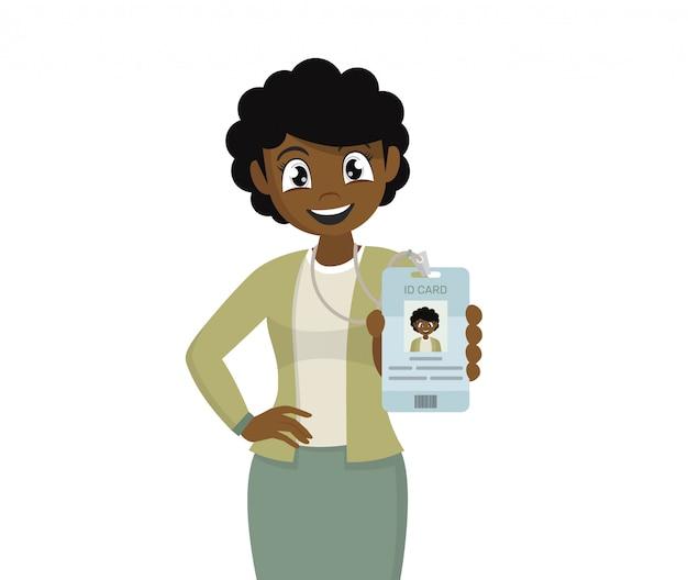 Mulher de negócios na áfrica seu crachá de identificação. Vetor Premium
