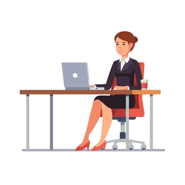 Mulher de negócios que trabalha na mesa de escritório limpa Vetor grátis