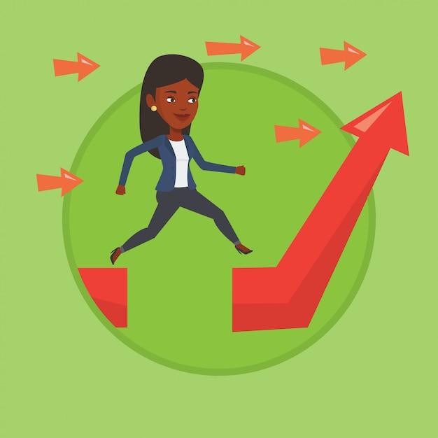 Mulher de negócios saltando sobre gap na seta subindo. Vetor Premium