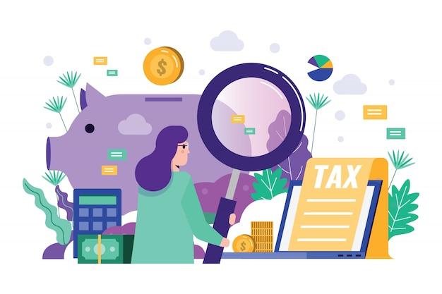 Mulher de negócios segurando a lupa para auditar dados financeiros. Vetor Premium