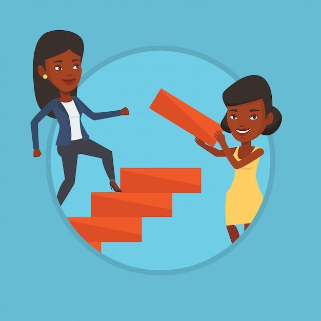 Mulher de negócios sobe a escada da carreira. Vetor Premium