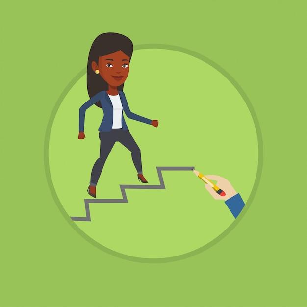 Mulher de negócios subindo a escada da carreira. Vetor Premium