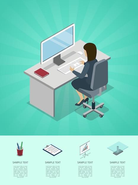 Mulher de negócios, trabalhando no escritório em infográfico de computador Vetor Premium