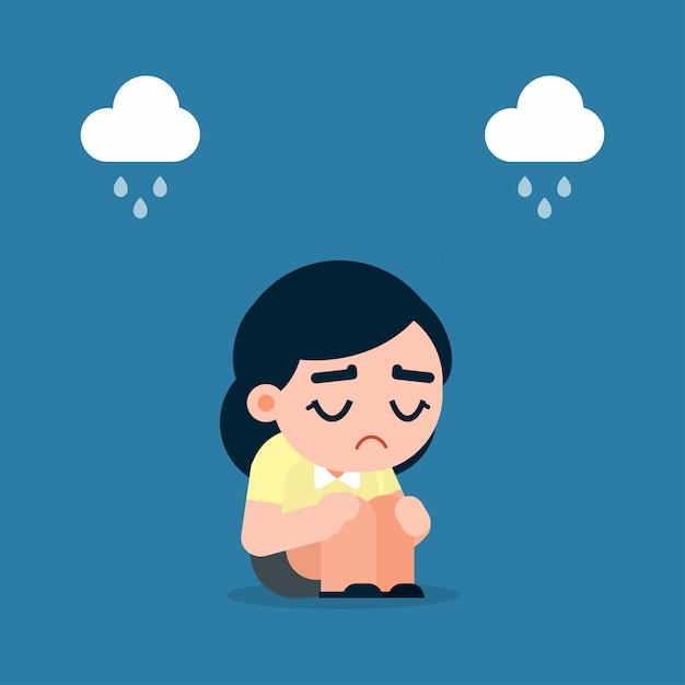 Mulher De Negocios Triste E Cansado Com Depressao Sentada No Chao
