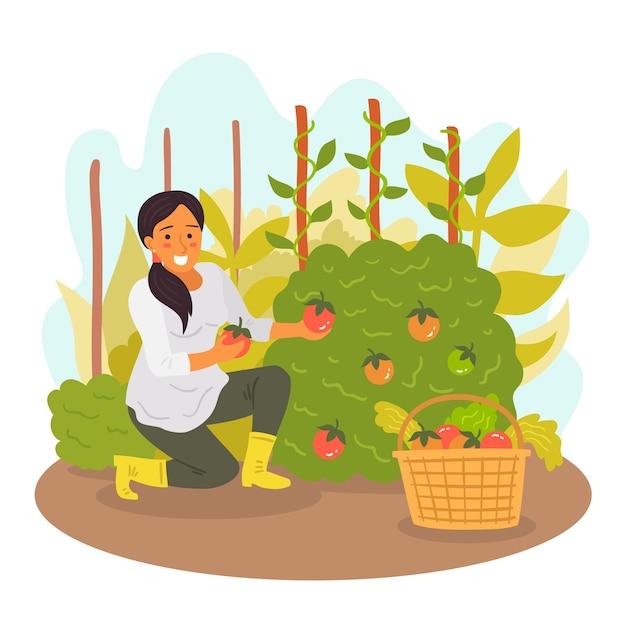 Mulher de paisagem de fazenda com frutas nas mãos Vetor grátis