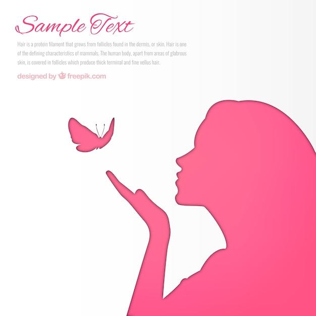 Mulher-de-rosa silhueta fundo Vetor grátis