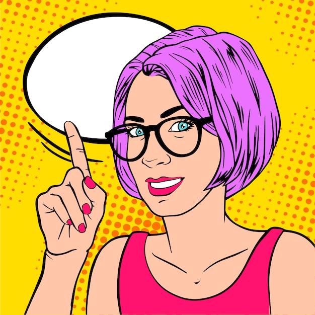 Mulher de treinador de negócios linda garota com o dedo indicador Vetor Premium