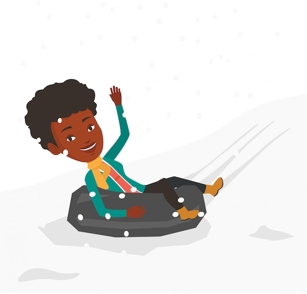 Mulher de trenó no tubo de borracha de neve nas montanhas. Vetor Premium