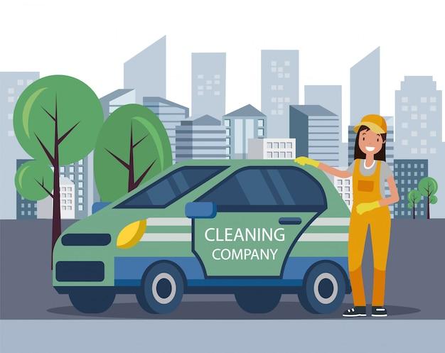 Mulher de uniforme em pé pelo carro da empresa de limpeza. Vetor Premium