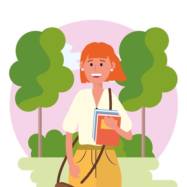 Mulher de universidade com livros e árvores com arbustos Vetor Premium