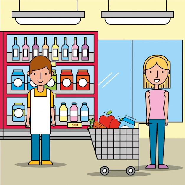 Mulher de vendedor e cliente com carrinho de compras no supermercado Vetor Premium