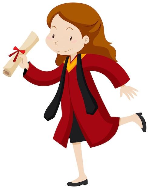 Mulher de vestido vermelho de formatura Vetor grátis