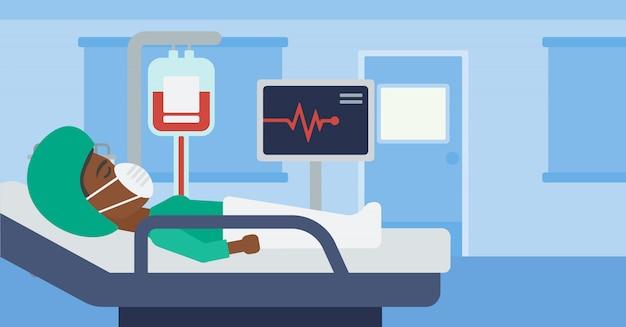 Mulher deitada na cama do hospital. Vetor Premium