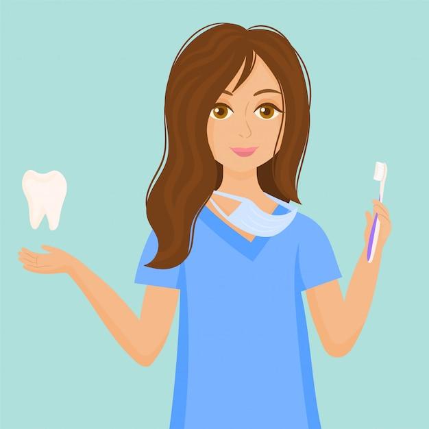 Mulher dentista. conceito de cuidados com os dentes. Vetor Premium