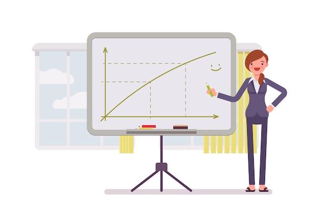Mulher desenhou um gráfico positivo no quadro Vetor Premium