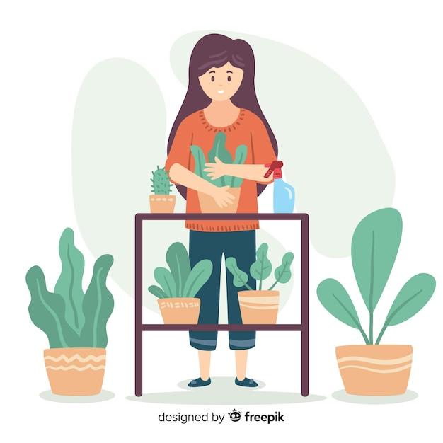 Mulher, desfrutando, jardinagem, apartamento, desenho Vetor grátis
