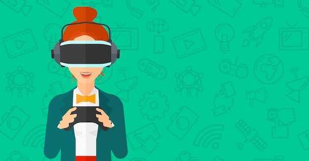Mulher, desgastar, realidade virtual, headset Vetor Premium