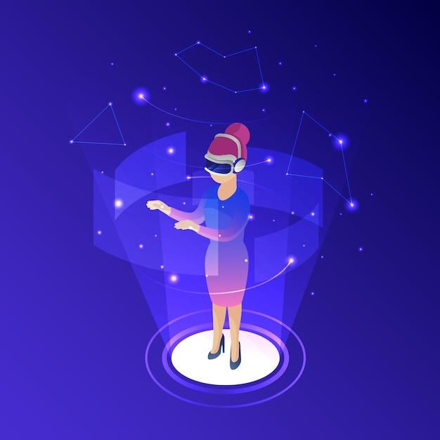 Mulher, desgastar, realidade virtual, óculos Vetor grátis