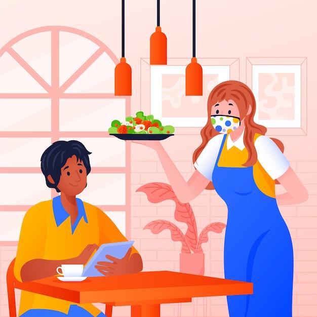 Mulher, desgastar, tecido, máscara, servindo alimento Vetor grátis