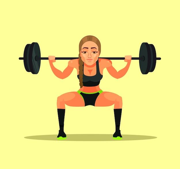 Mulher desportiva fitness fisiculturista atleta instrutor professor fazendo exercício agachamento com peso pesado. esporte Vetor Premium
