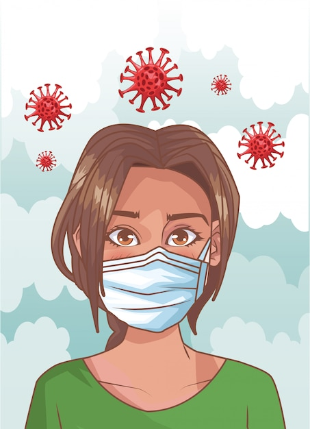 Mulher doente com cena de coronavírus Vetor Premium