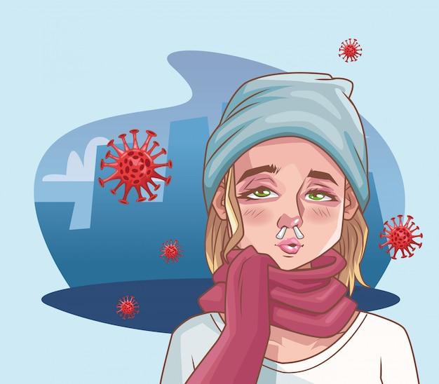 Mulher doente com ilustração de cena de coronavírus Vetor Premium