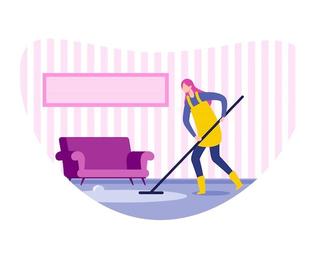 Mulher, dona de casa, limpeza, trabalhador empresa, limpeza, e, chão lavando Vetor Premium