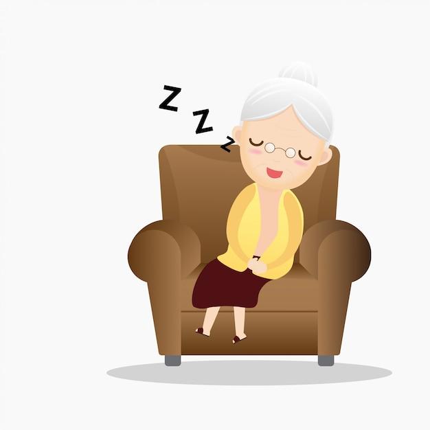 Mulher dormindo em uma poltrona. Vetor Premium
