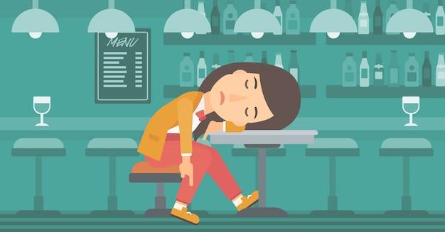 Mulher dormindo no bar. Vetor Premium