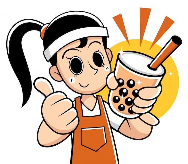 Mulher dos desenhos animados, apresentando chá da bolha Vetor Premium