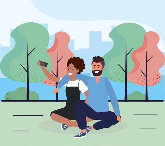 Mulher e homem casal de estar com smartphone Vetor Premium