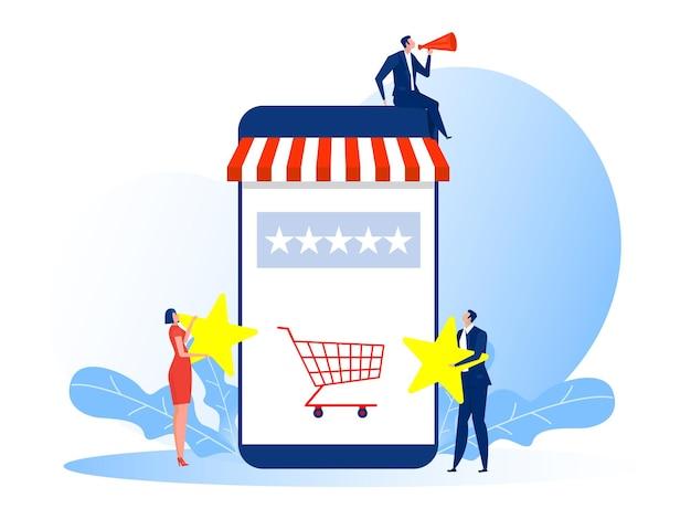 Mulher e homem com classificação de estrelas para ilustração de negócios de loja de votação Vetor Premium