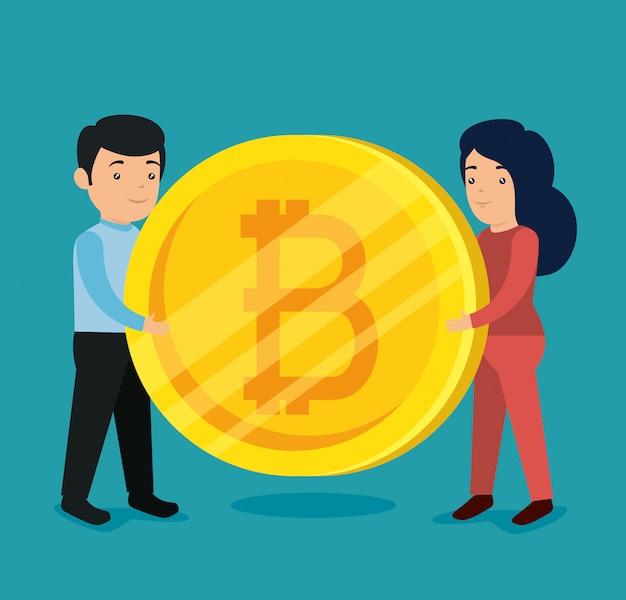 Mulher e homem com moeda eletrônica bitcoin Vetor grátis