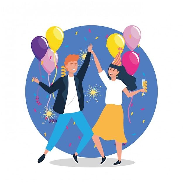 Mulher e homem dançando com balões e chapéu Vetor grátis