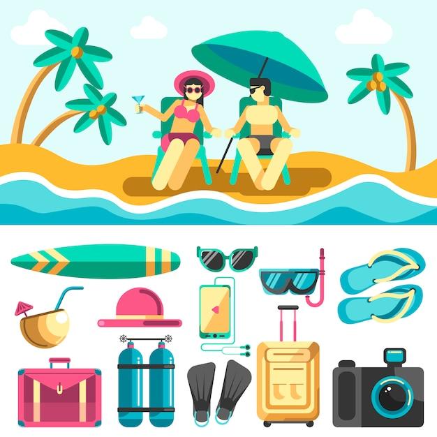 Mulher e homem deitado em espreguiçadeiras na praia de verão Vetor Premium