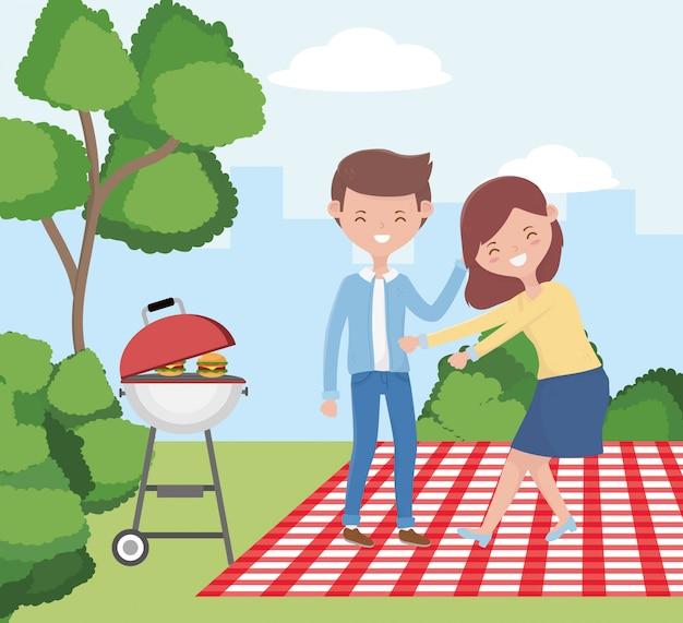 Mulher e homem dos desenhos animados, tendo design de piquenique, comida festa verão lazer ao ar livre saudável primavera almoço e refeição tema Vetor Premium