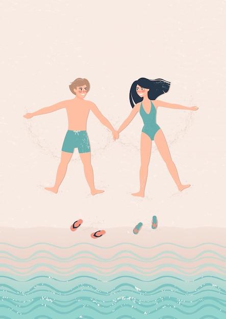 Mulher e homem feliz mentem na ilustração da praia Vetor Premium